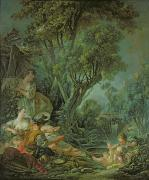 Fishing Painting Prints - The Angler Print by Francois Boucher