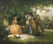 Slave Society Painting Prints - The Anglers Repast  Print by George Morland