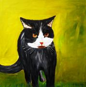 Paws Painting Originals - The Angry Cat by Jean Fitzhugh
