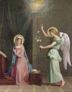Halo Painting Framed Prints - The Annunciation Framed Print by Auguste Pichon
