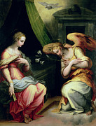 Central Painting Prints - The Annunciation Print by Giorgio Vasari