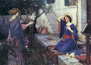 Virgin Mary Paintings - The Annunciation by John William Waterhouse