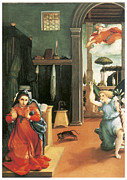 Religious Art Paintings - The Annunciation by Lorenzo Lotto