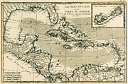 Old Map Drawings Framed Prints - The Antilles and the Gulf of Mexico Framed Print by Guillaume Raynal