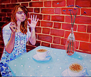 Alice In Wonderland Painting Originals - The Anxious Tea Party by Helen Laishley