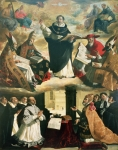 D Painting Posters - The Apotheosis of Saint Thomas Aquinas Poster by Francisco de Zurbaran