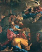 Putti Prints - The Apparition of the Virgin the St James the Great Print by Nicolas Poussin