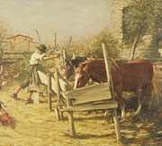 Cockerel Paintings - The Appian Way by Henry Herbert La Thangue