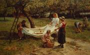 Country Scenes Framed Prints - The Apple Gatherers Framed Print by Frederick Morgan