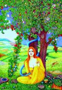 Fruit Tree Art Paintings - The Apple Lady Welcomes You by Jane Tripp