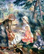Pink Dress Posters - The Apple-Seller Poster by Pierre Auguste Renoir
