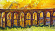 Chimneys Digital Art Posters - The Aquaduct Oldtimes Poster by Phil Austen