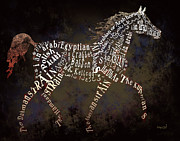 Arabian Horse Mixed Media Posters - The Arabian Horse in Typography Poster by Ginny Luttrell