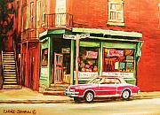 Montreal Streets Painting Originals - The Arcadia Five And Dime Store by Carole Spandau