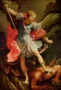Archangel Painting Posters - The Archangel Michael defeating Satan Poster by Guido Reni