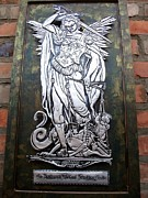 Saint Reliefs Prints - The Archangel Michael Weighing Souls Print by Cacaio Tavares