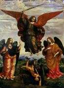 Good Over Evil Paintings - The Archangels triumphing over Lucifer by Marco DOggiono