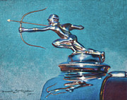 Vintage Hood Ornament Drawings Framed Prints - The Archer Framed Print by Deb Richter