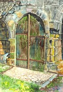 Doorway Drawings Framed Prints - The Archways of Bandouille 12th Century Monastery Sevres France Framed Print by Carol Wisniewski
