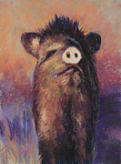 Pig Pastels Framed Prints - The Aristocrat Framed Print by Billie Colson