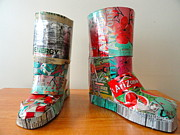 Cans Mixed Media - The Arizona Boots by Genevieve  Brissette