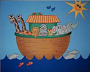 Childrens Art Drawings - The Ark by Valerie Chiasson-Carpenter