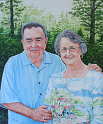 Portraits Paintings - The Armstrongs by Mike Ivey