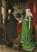 Couple Painting Framed Prints - The Arnolfini Marriage Framed Print by Jan van Eyck