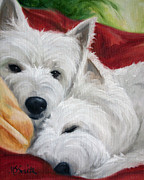 Terrier Art - The Art of Snuggling by Mary Sparrow Smith