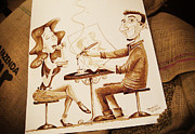 Caricaturist Paintings - The Artist - Coffee Art by Dirceu Veiga