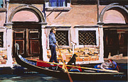 Gondolier Painting Prints - The Artist as Gondolier Print by Michael Jacques