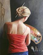 Oils Paintings - The Artist at Work by Anna Bain