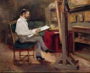 Sketching Prints - The Artist Morot in his Studio Print by Gustave Caillebotte