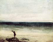 Ocean Scenes Beach Scenes Framed Prints - The Artist on the Seashore at Palavas Framed Print by Gustave Courbet
