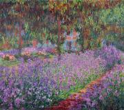Impressionism Glass Posters - The Artists Garden at Giverny Poster by Claude Monet