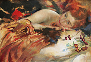 Day Bed Prints - The Artists Mistress Print by Charles Sims