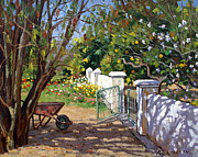 Old Wall Painting Prints - The Artists Spring Garden Print by Roelof Rossouw