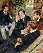 Chatting Painting Metal Prints - The Artists Studio Rue Saint Georges Metal Print by Pierre Auguste Renoir