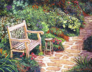 Romantic Gardens Framed Prints - The Artists Sunbench Framed Print by David Lloyd Glover