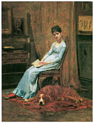 Fine American Art Prints - The Artists Wife and his Setter Dog Print by Thomas Eakins