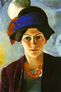 Macke Framed Prints - The artists wife with hat Framed Print by Stefan Kuhn