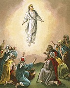 Gospels Paintings - The Ascension by English School