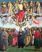 Virgin Mary Framed Prints - The Ascension of Christ Framed Print by Pietro Perugino