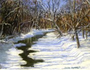Snow Scene Pastels Metal Prints - The Assabet River in winter Metal Print by Jack Skinner