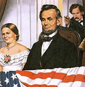 American Flag Prints - The Assassination of Abraham Lincoln Print by John Keay