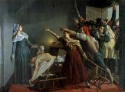 Girondin Painting Framed Prints - The Assassination of Marat Framed Print by Jean Joseph Weerts