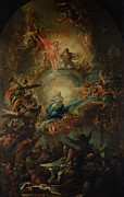 Heavenly Angels Paintings - The Assumption by Johann Christoph Lischka