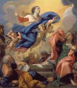 Angels Prints - The Assumption of the Virgin Print by Guillaume Courtois