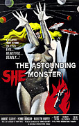 Horror Movies Photo Framed Prints - The Astounding She-monster, 1-sheet Framed Print by Everett