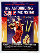 1950s Poster Art Framed Prints - The Astounding She-monster, Poster Art Framed Print by Everett